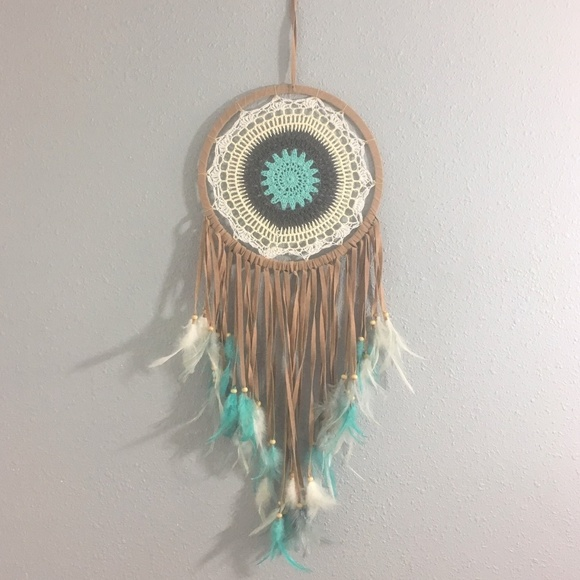 Other - Large Turquoise Floral Crochet Boho DREAMCATCHER